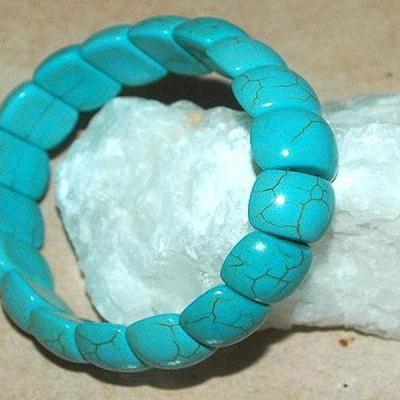 Tqr 007a bracelet turquoise woolite bijou ethnique achat vente