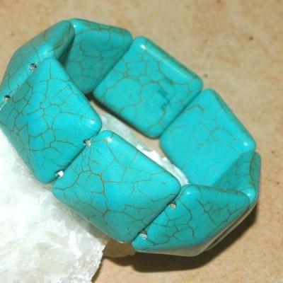 Tqr 011a bracelet turquoise woolite bijou ethnique achat vente 1