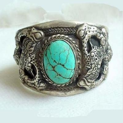 Tqt 004a bracelet torque turquoise argent ethnique 925 achat vente bijoux