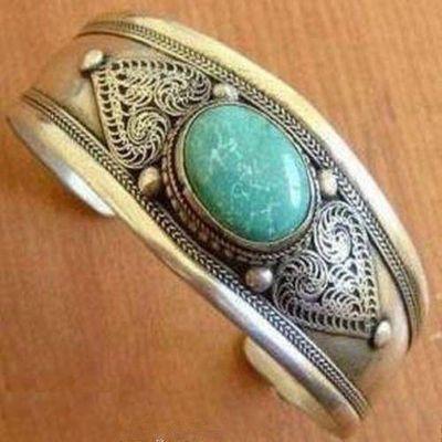 Tqt 007a bracelet torque turquoise 38gr 35mm 17x22mm argent ethnique 925 achat vente bijoux