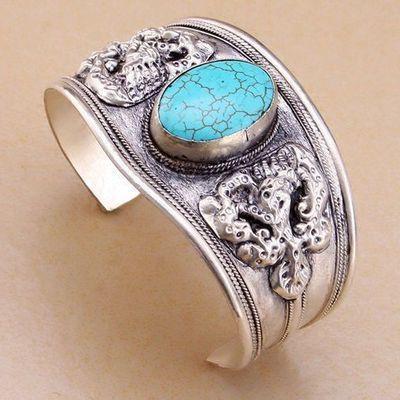 Tqt 008c bracelet torque turquoise 40gr 45mm 18x25mm argent ethnique achat vente bijoux 1