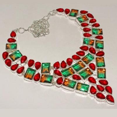 Trm 005a collier parure sautoir tourmaline topaze rouge achat vente bijou argent 925