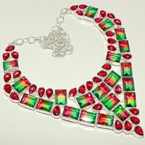 Trm 006a collier parure sautoir tourmaline topaze rouge achat vente bijou argent 925