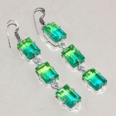 Trm 015a boucles pendants oreilles tourmaline verte ametrine achat vente bijou monture argent 925