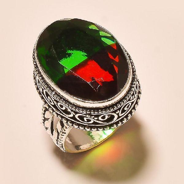 Trm 022a bague t55 tourmaline rouge vert achat vente bijou monture argent 925