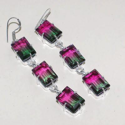 Trm 028a boucles pendants oreilles tourmaline amethyste achat vente bijou monture argent 925