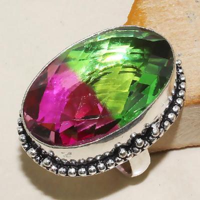 Trm 029a bague t60 tourmaline rose vert achat vente bijou monture argent 925