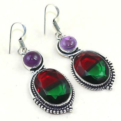 Trm 031a boucles pendants oreilles tourmaline amethyste achat vente bijou monture argent 925