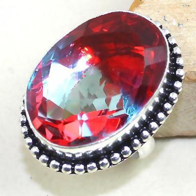 Trm 033a bague t54 tourmaline rouge bleue achat vente bijou monture argent 925