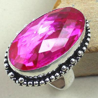 Trm 036a bague t60 tourmaline rose bijoux renaissance medievale argent 925 vente achat