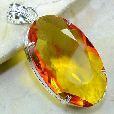 Trm 041a pendentif lemontrine ametrine pierre taillee achat vente bijou argent 925