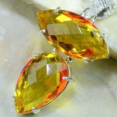 Trm 042b pendentif lemontrine ametrine pierre taillee achat vente bijou argent 925