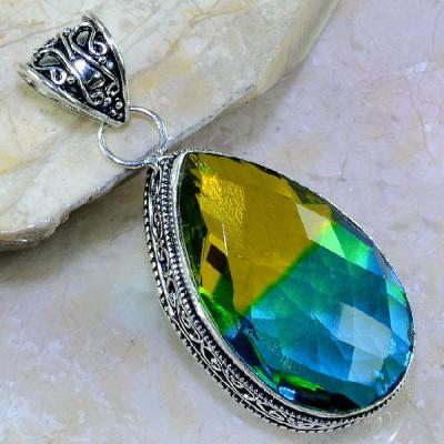 Trm 047a pendentif tourmaline ametrine pierre taillee achat vente bijou argent 925