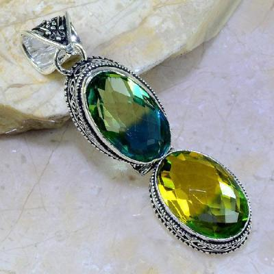 Trm 048a pendentif tourmaline ametrine pierre taillee achat vente bijou argent 925