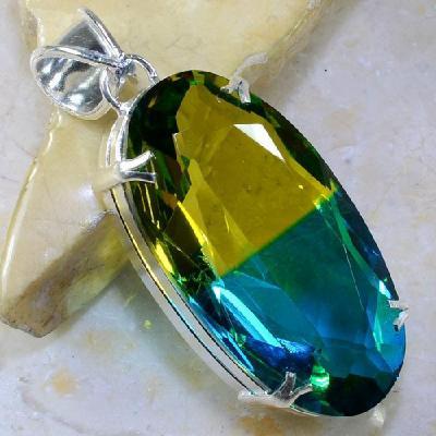 Trm 049a pendentif tourmaline ametrine pierre taillee achat vente bijou argent 925