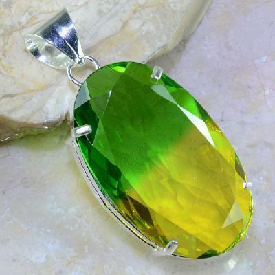 Trm 050a pendentif tourmaline ametrine pierre taillee achat vente bijou argent 925
