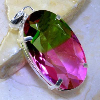 Trm 053a pendentif tourmaline ametrine pierre taillee achat vente bijou argent 925