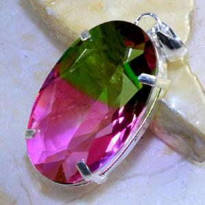 Trm 053b pendentif tourmaline ametrine pierre taillee achat vente bijou argent 925