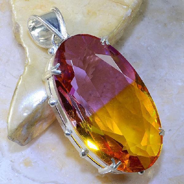 Trm 055a pendentif tourmaline ametrine pierre taillee achat vente bijou argent 925
