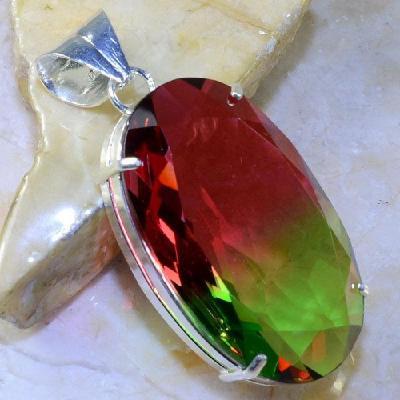 Trm 057a pendentif tourmaline ametrine pierre taillee achat vente bijou argent 925