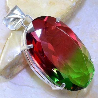 Trm 058a pendentif tourmaline ametrine pierre taillee achat vente bijou argent 925