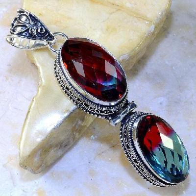 Trm 059a pendentif tourmaline ametrine pierre taillee achat vente bijou argent 925