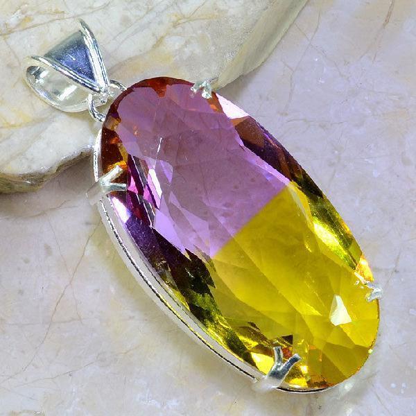Trm 061a pendentif tourmaline ametrine pierre taillee achat vente bijou argent 925