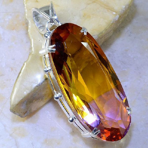 Trm 062a pendentif tourmaline ametrine pierre taillee achat vente bijou argent 925