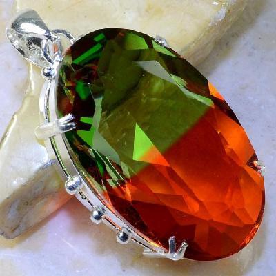 Trm 063a pendentif tourmaline ametrine pierre taillee achat vente bijou argent 925