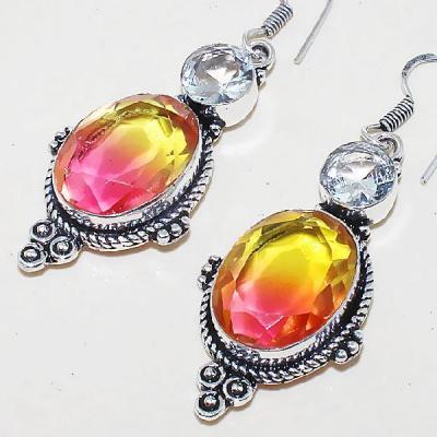 Trm 064b boucles pendants oreilles tourmaline topaze achat vente bijou monture argent 925