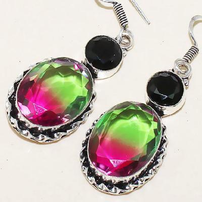 Trm 065b boucles pendants oreilles tourmaline onyx noir achat vente bijou monture argent 925