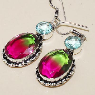 Trm 067b boucles pendants oreilles tourmaline topaze achat vente bijou monture argent 925