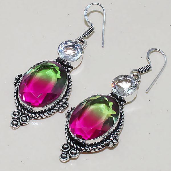 Trm 068b boucles pendants oreilles tourmaline topaze achat vente bijou monture argent 925