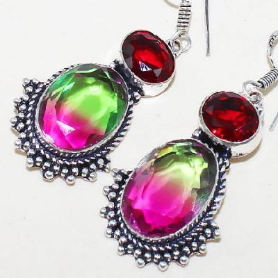 Trm 070b boucles pendants oreilles tourmaline grenat achat vente bijou monture argent 925