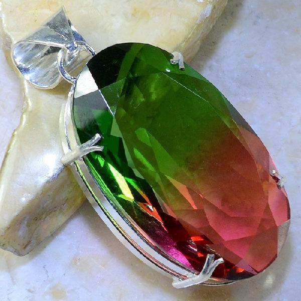 Trm 073a pendentif tourmaline ametrine pierre taillee achat vente bijou argent 925