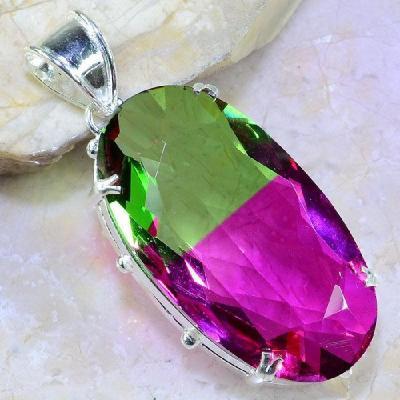 Trm 074a pendentif tourmaline ametrine pierre taillee achat vente bijou argent 925