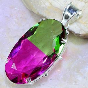 Trm 074b pendentif tourmaline ametrine pierre taillee achat vente bijou argent 925