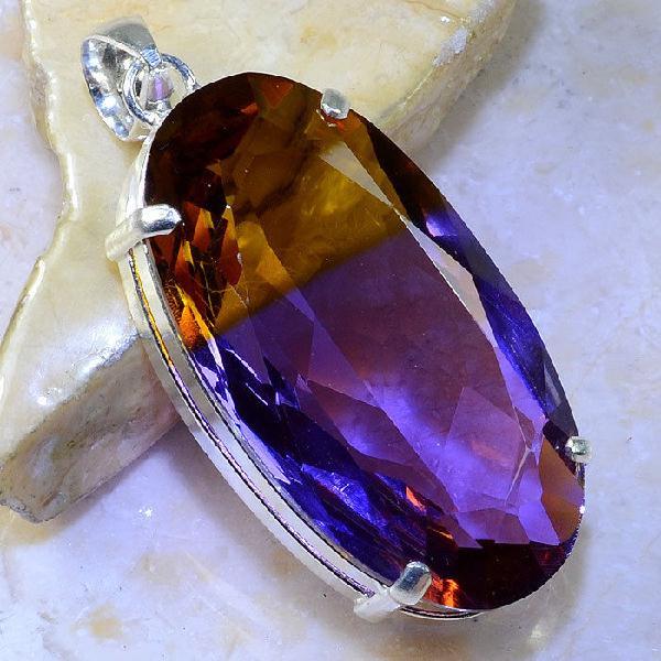 Trm 076a pendentif tourmaline ametrine pierre taillee achat vente bijou argent 925