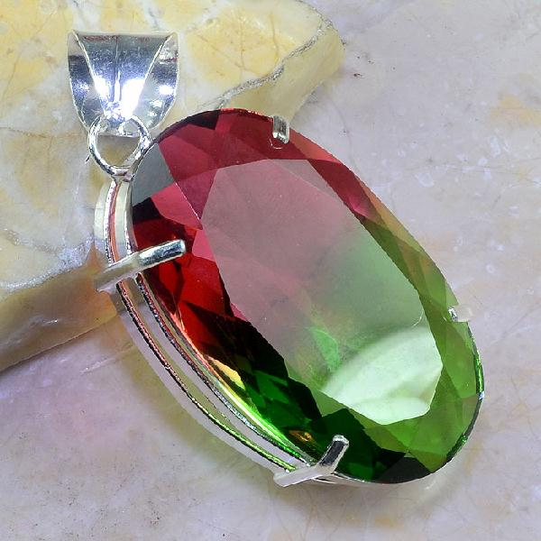 Trm 080a pendentif tourmaline ametrine pierre taillee achat vente bijou argent 925