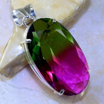 Trm 082a pendentif tourmaline ametrine pierre taillee achat vente bijou argent 925