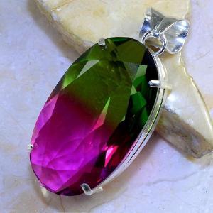 Trm 082b pendentif tourmaline ametrine pierre taillee achat vente bijou argent 925