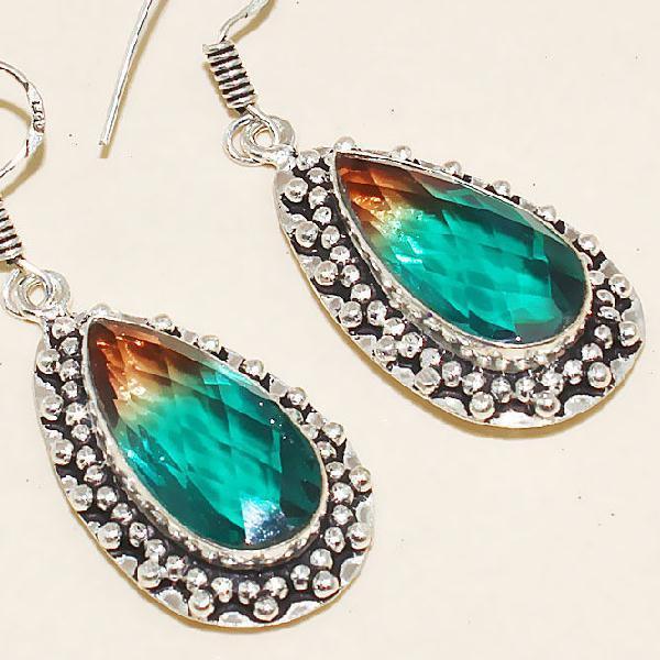 Trm 084c boucles pendants oreilles tourmaline achat vente bijou monture argent 925