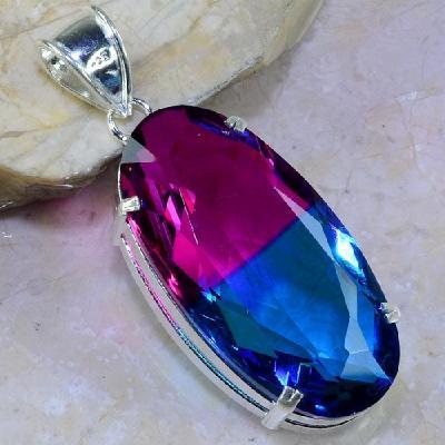 Trm 091a pendentif tourmaline ametrine pierre taillee achat vente bijou argent 925