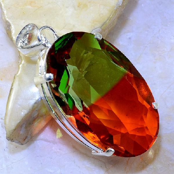 Trm 092a pendentif tourmaline ametrine pierre taillee achat vente bijou argent 925