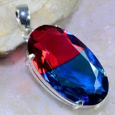 Trm 095a pendentif tourmaline ametrine pierre taillee achat vente bijou argent 925