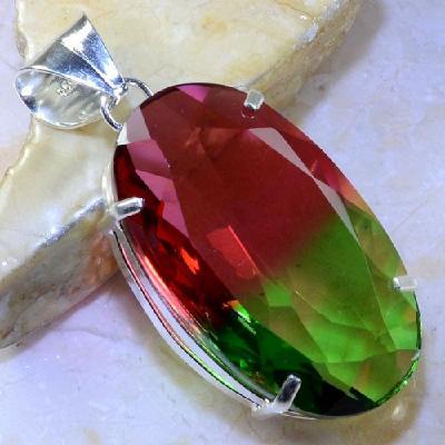 Trm 097a pendentif tourmaline ametrine pierre taillee achat vente bijou argent 925