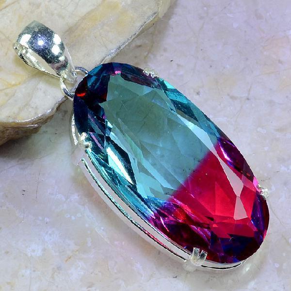 Trm 098a pendentif tourmaline ametrine pierre taillee achat vente bijou argent 925