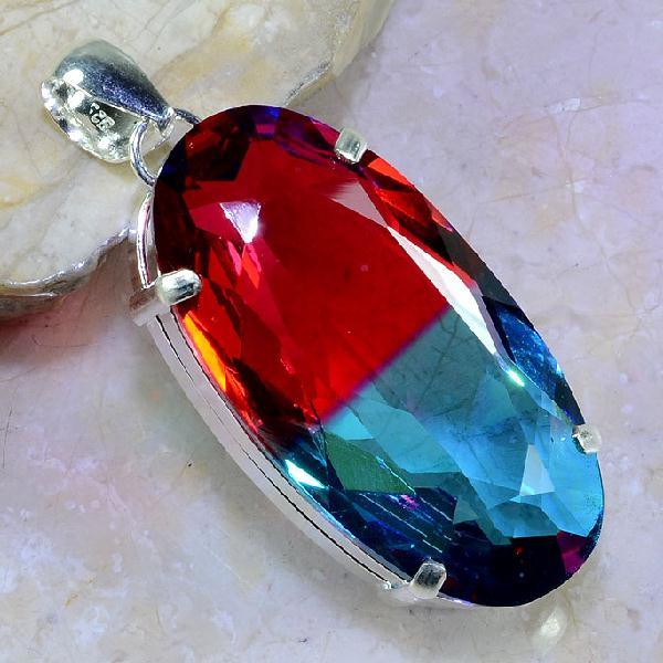 Trm 099a pendentif tourmaline ametrine pierre taillee achat vente bijou argent 925