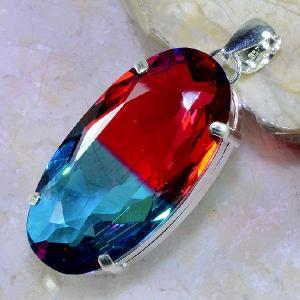 Trm 099b pendentif tourmaline ametrine pierre taillee achat vente bijou argent 925