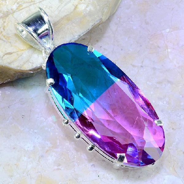 Trm 100a pendentif tourmaline ametrine pierre taillee achat vente bijou argent 925